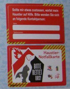 Notfallkarte für das Geldtascherl