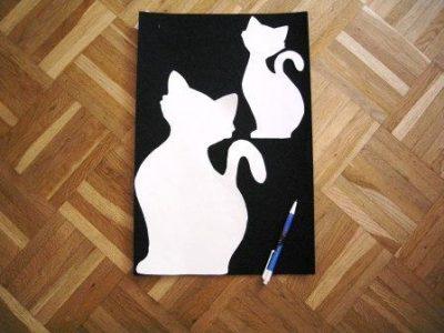 Zuschnitt des Filzes nach Katzenschablonen zur Deko der Katzenangel-Wandhalterung
