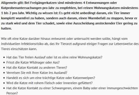 Screenshot ESCCAP Deutschland Katzen wie oft entwurmen, Häufigkeit der Wurmkur