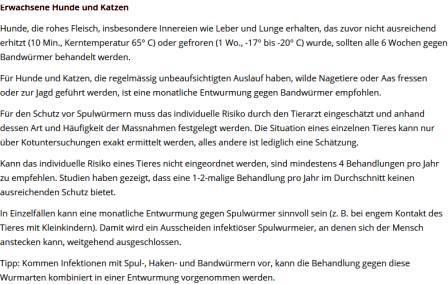 Screenshot ESCCAP Schweiz, Häufigkeit der Wurmkur